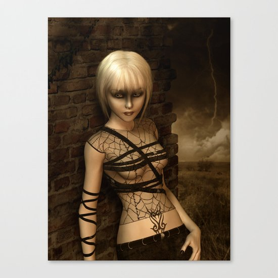 Sad Gothic Girl awaiting the storm Canvas Print