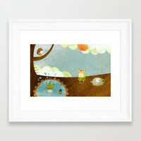 swimming Framed Art Prints featuring Swimming by Malin Koort