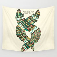 feathers Wall Tapestries featuring Soulmate Feathers by Pom Graphic Design