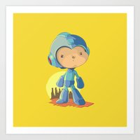 megaman Art Prints featuring Megaman by Rod Perich