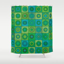 Turquoise and Green Flower Pattern Shower Curtain