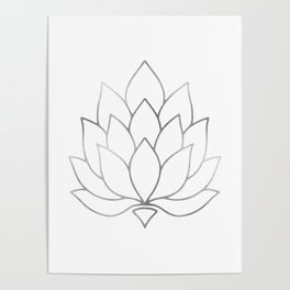 Silver Foil Lotus Flower Poster