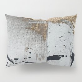 Still: an abstract mixed media piece in black, white, and gold by Alyssa Hamilton Art Pillow Sham