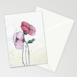 Poppies painting watercolor and black ink illustration Stationery Cards