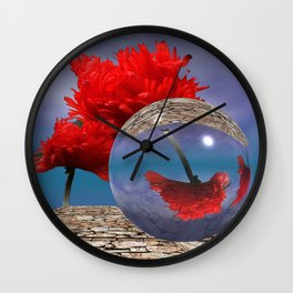 poppy and crystal ball - refraction of light Wall Clock