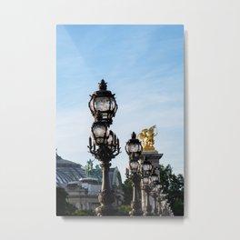 Art Nouveau lamps on Pont Alexandre III - Paris, France Metal Print