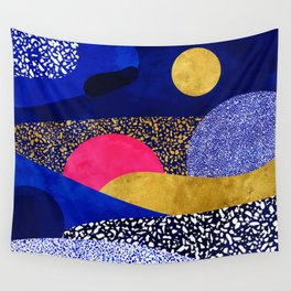 Terrazzo galaxy blue night yellow gold pink Wall Tapestry