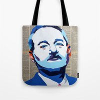 bill murray Tote Bags featuring Bill Murray by VenusArtist