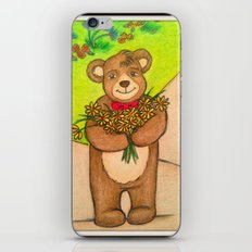 FLOWERS FOR YOU - Adorable Little Teddy Bear Flowers Floral Cute Colorful Original Illustration iPhone & iPod Skin