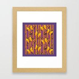 Golden Butterflies Puce Purple Deco Pattern Art Framed Art Print