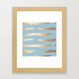 Abstract Paint Stripes Gold Tropical Ocean Sea Blue Framed Art Print
