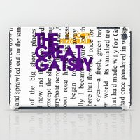 fitzgerald iPad Cases featuring The Great Gatsby - F. Scott Fitzgerald / Book Cover Art Poster  by FunnyFaceArt