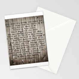 For what it's worth by F Scott Fitzgerald #woodbackground #poem Stationery Cards