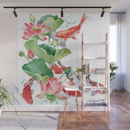Koi Fish Pond With Large Lotus Flowers Leaves Watercolor Painting Chinese Style Wall Mural