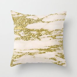 Marble - Gold Marble Glittery Light Pink and Yellow Gold Throw Pillow