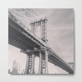 Manhattan Bridge, New York City, black & white, fine art photography, NY Metal Print