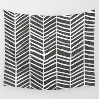 herringbone Wall Tapestries featuring Herringbone – Black & White by Cat Coquillette