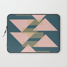Modern Lines and Triangles Design in Blush, Teal, and Gold Laptop Sleeve