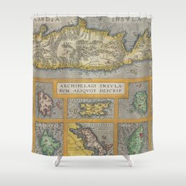 Vintage Map of The Islands of Greece (1584) Shower Curtain
