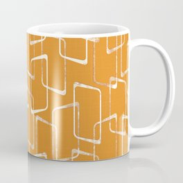 Retro Orange Lino Print Geometric Pattern Coffee Mug