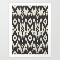 Black & Cream Tribal Ikat Art Print
