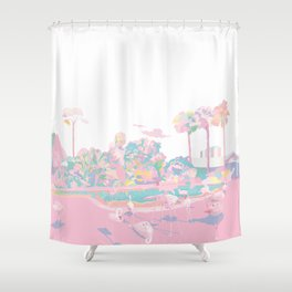 One broiling August day with Flamingos Shower Curtain