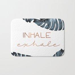 Inhale Exhale, Monstera Leafs, copper Bath Mat