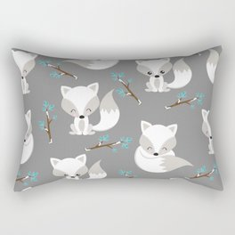 ARCTIC FOXES ON GREY Rectangular Pillow