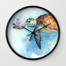 Turtle Noms Wall Clock