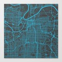 kansas city Canvas Prints featuring Kansas City Blue by Map Map Maps