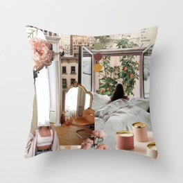 Girl by the Window Throw Pillow