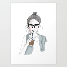 Fashion Illustration - Hipster Girl Art Print