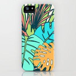 Tropical leaves cream iPhone Case
