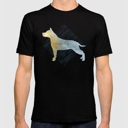 Modern American Staffordshire Terrier Dog Watercolor Stripes T-shirt