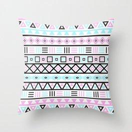 Aztec Influence Pattern Blue Black Pink White Throw Pillow