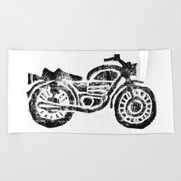 Motorcycle Linocut Block Print Beach Towel