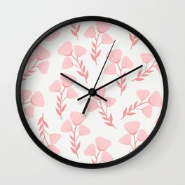 Pink roses print - soft pink palette  Wall Clock
