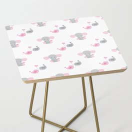 Pink Elephant Chickadee Bird Heart Side Table