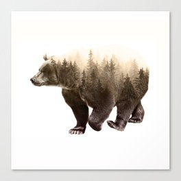 In It's Element - Brown Bear Double Exposure Art Print Canvas Print