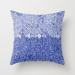 sarasa paisley all over in blues Throw Pillow