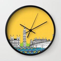 London Town Pop Art with spotty sky Wall Clock