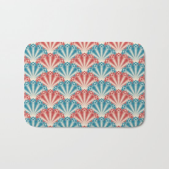 Colorful Abstract Peacock Feather Pattern Bath Mat