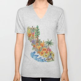 California - Floral Watercolor - State of California - West Coast Art - California Poppies - Ocean Unisex V-Neck