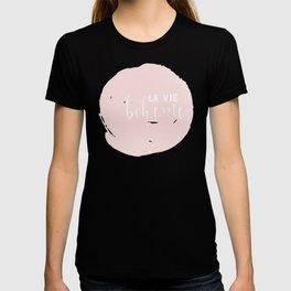 La Vie Boheme !Black Polka dots on white  and pink Typography on #Society6 T-shirt