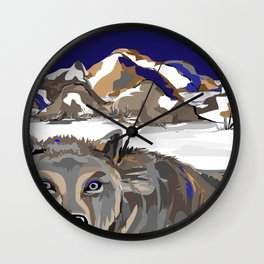 """""""Lone Wolf"""" Paulette Lust's Original, Contemporary, Whimsical, Colorful Art  Wall Clock"""