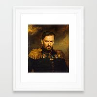 replaceface Framed Art Prints featuring Ricky Gervais - replaceface by replaceface