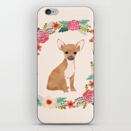 chihuahua floral wreath flowers dog breed gifts iPhone Skin