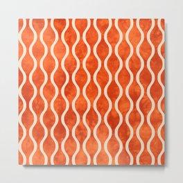 Retro Tie Dye Ogee Pattern 314 Orange and Beige Metal Print