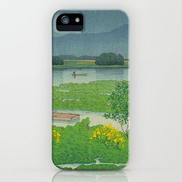 Kawase Hasui Vintage Japanese Woodblock Print Flooded Asian Rice Field Mountain Parallax Landscape iPhone Case
