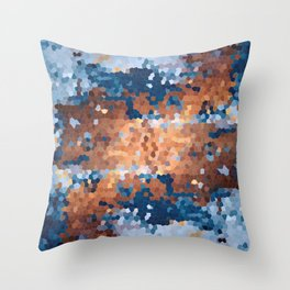 Copper and Denim Abstract Throw Pillow
